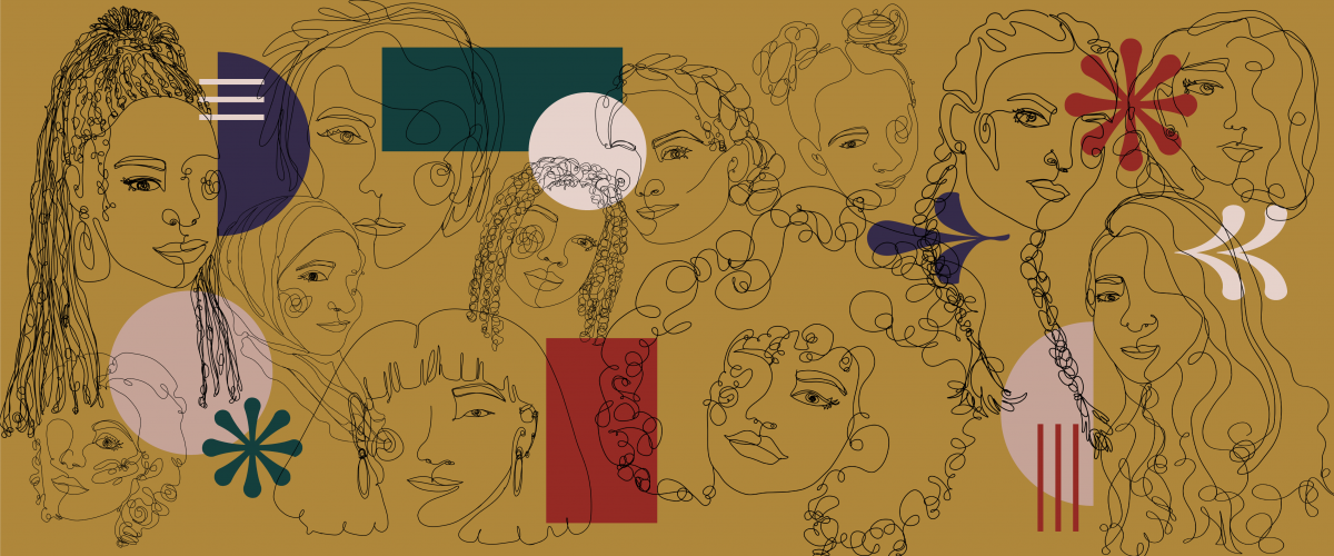 Line drawings of women's faces sit in front of a dark yellow background. Various shapes in red, pink and purple are mixed throughout.