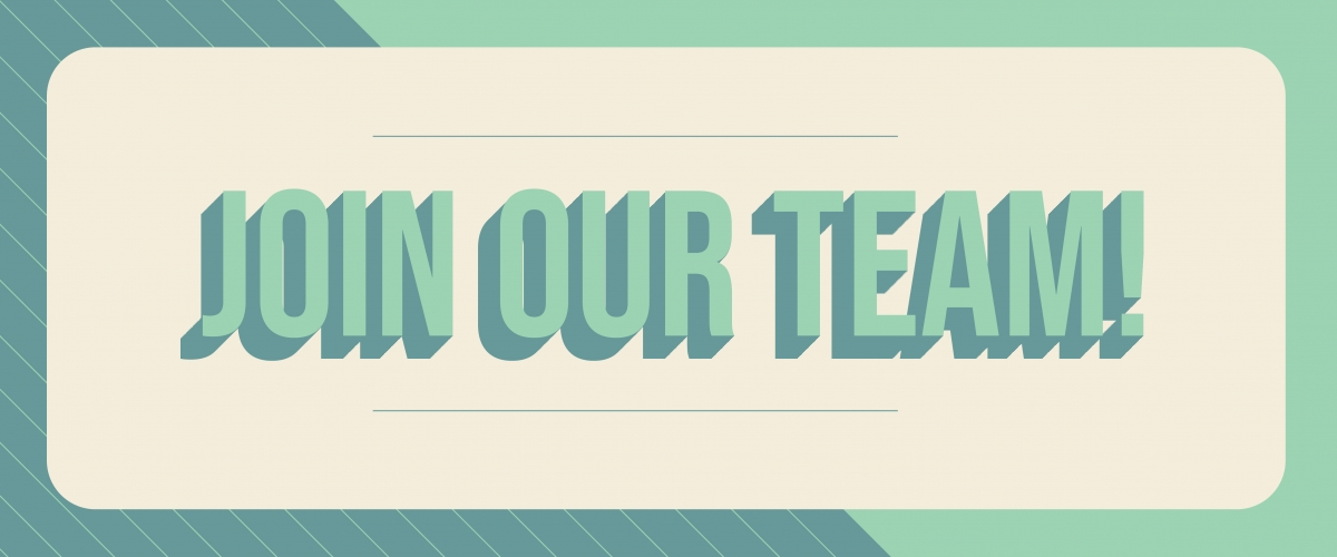 """Graphic features """"Join Our Team"""" in block lettering on a striped background."""