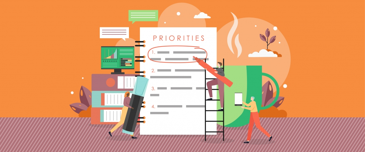 """Graphic features three cartoon figures writing on a giant to-do list labeled """"Priorities"""" with giant books, electronics, and a coffee cup in the background."""