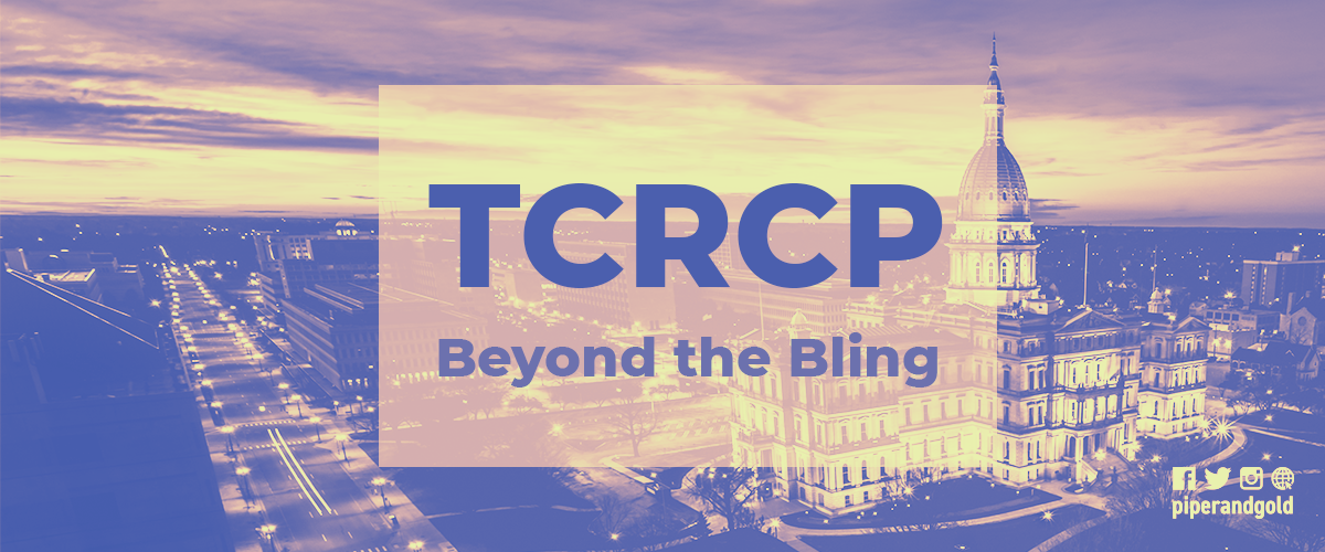 """photo of government building with the words """"TCRCP Beyond the Bling"""" in front of it"""