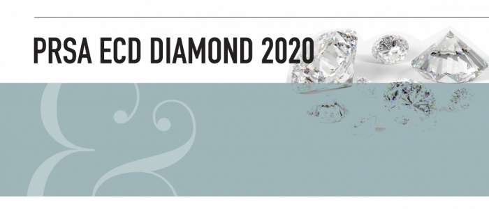 PRSA ECD Diamond 2020. Black texts is in front of a white background. The bottom half of the image is a light blue text. An ampersand is in the bottom left. Diamond images are in the top right.