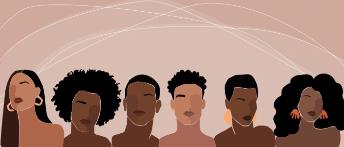 Six abstract drawings of Black women and men are in front of a pink background.