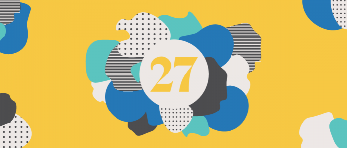blue and yellow graphic that has the number 27 in the middle