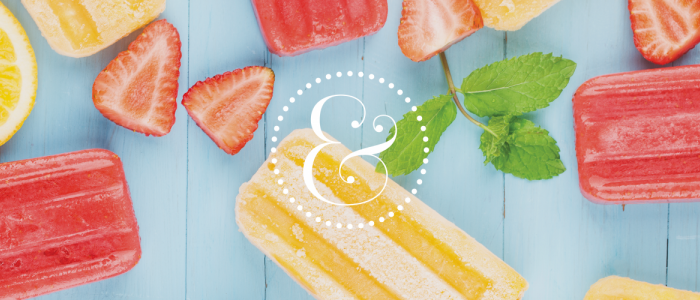 Graphic features the Piper & Gold logo on a blue background of strawberries and red and yellow popsicles.