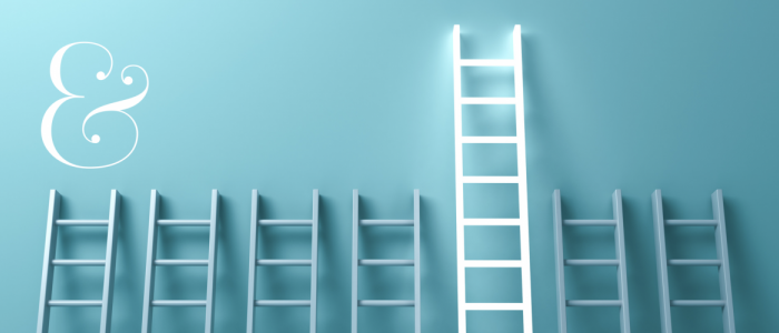 A row of blue ladders against a blue background, with one ladder glowing white and standing taller than the rest.